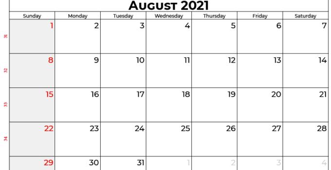 august 2021 calendar au