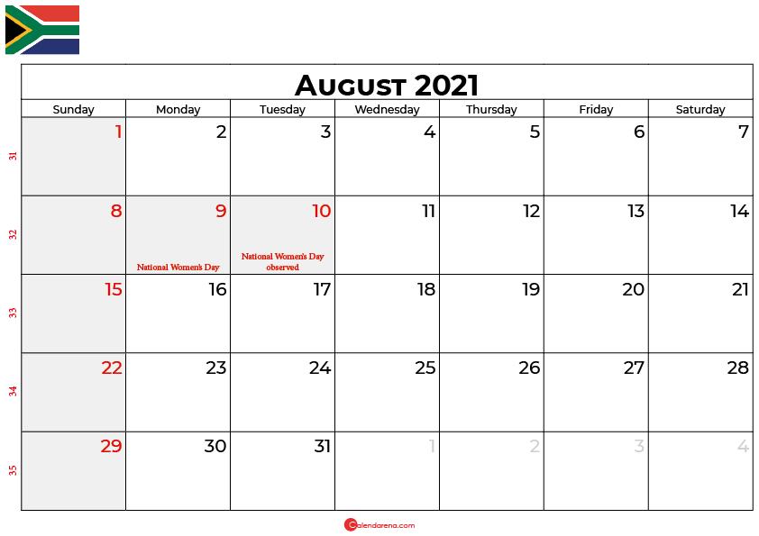 august 2021 calendar south africa