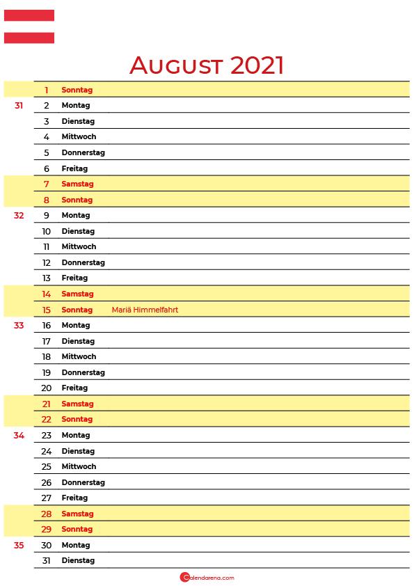 august 2021 kalender Österreich