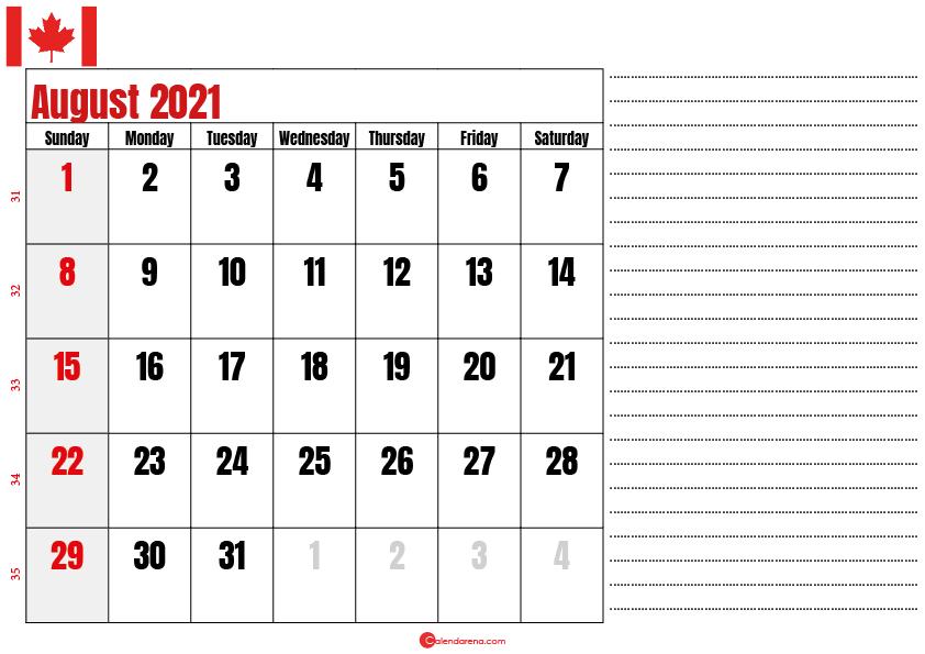 august 2021 printable calendar ca