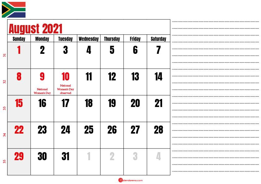 august 2021 printable calendar south africa