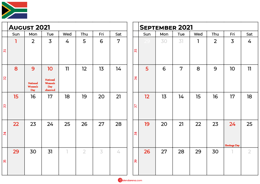 august and september 2021 calendar south africa