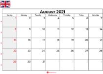 august calendar 2021 UK