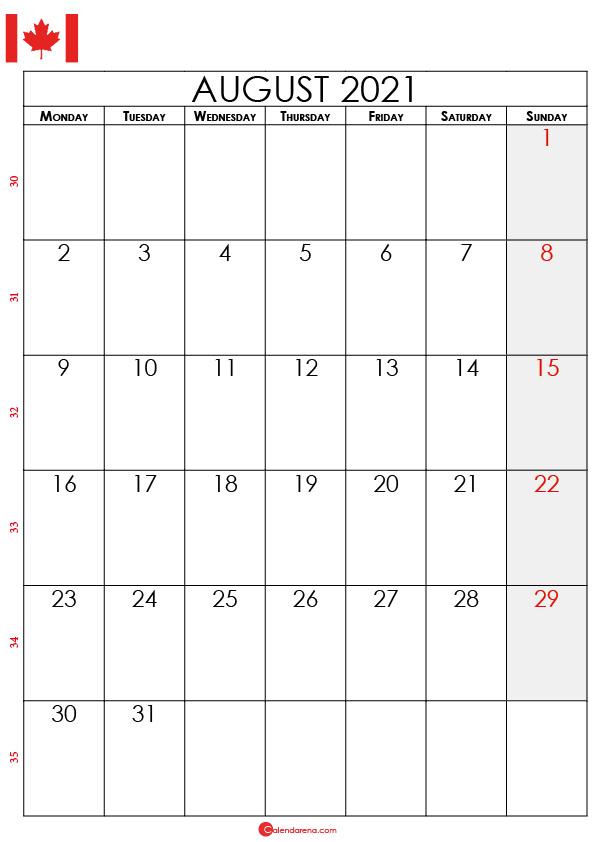 august calendar 2021 ca