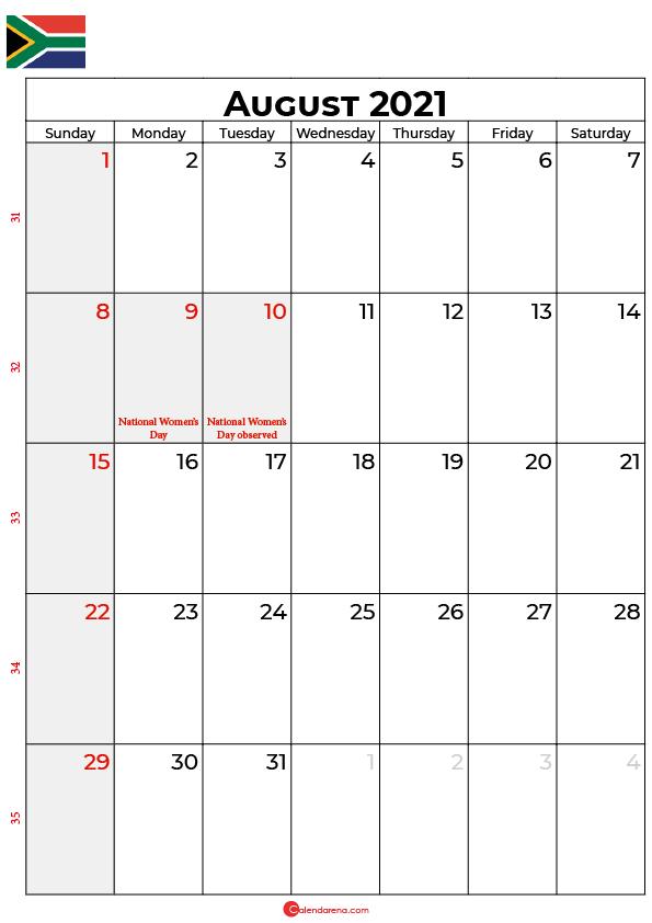 august calendar 2021 south africa