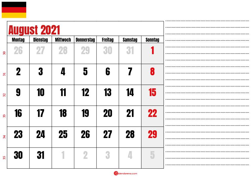 august kalender 2021 Deutschland