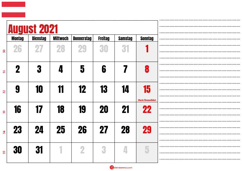 august kalender 2021 Österreich