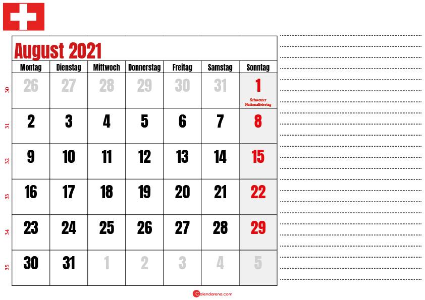 august kalender 2021 Schweiz