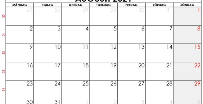 augusti 2021 kalender sw