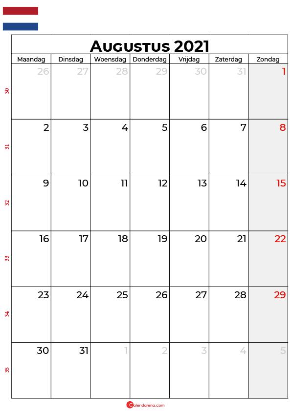 augustus kalender 2021 nl