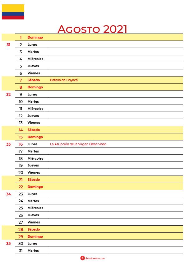 calendario 2021 agosto colombia