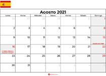 calendario 2021 agosto espana