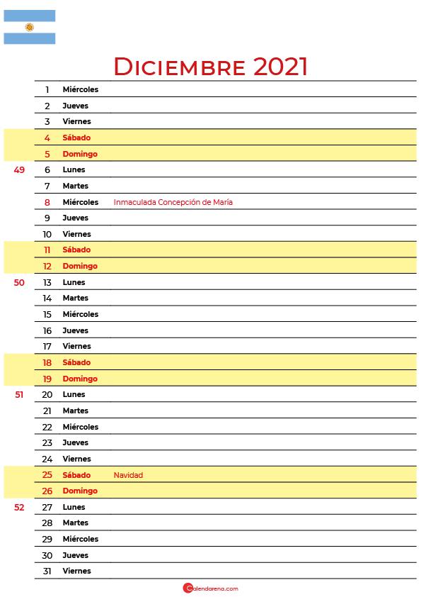 calendario 2021 diciembre argentina