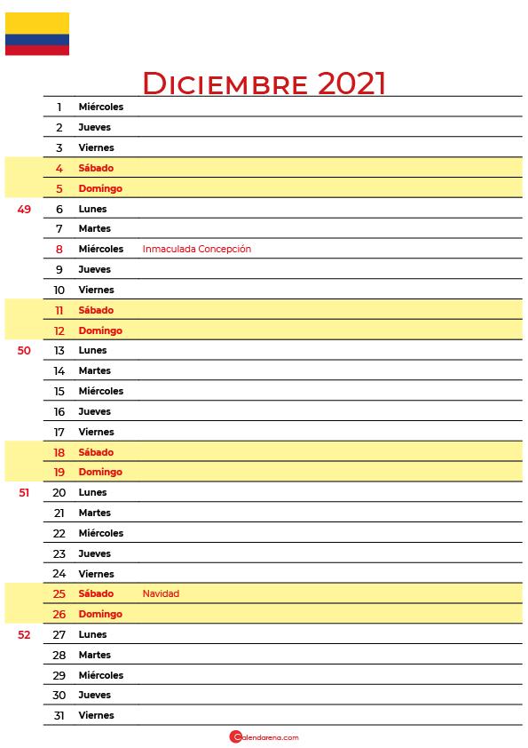 calendario 2021 diciembre colombia