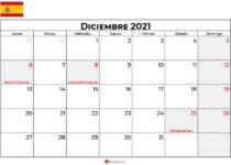 calendario 2021 diciembre espana