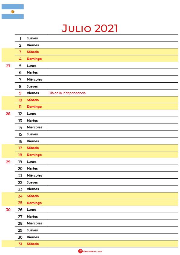 calendario 2021 julio argentina