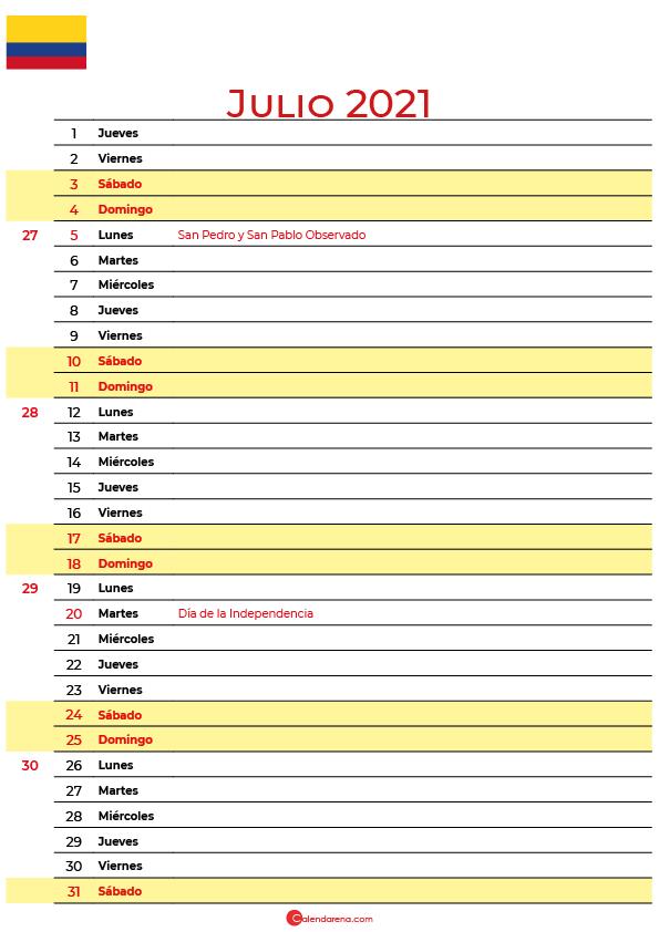 calendario 2021 julio colombia