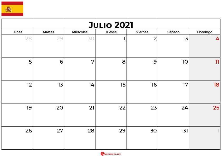 calendario 2021 julio espana