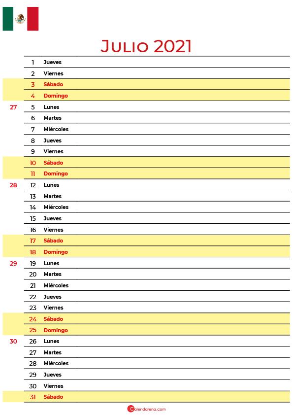 calendario 2021 julio mexico