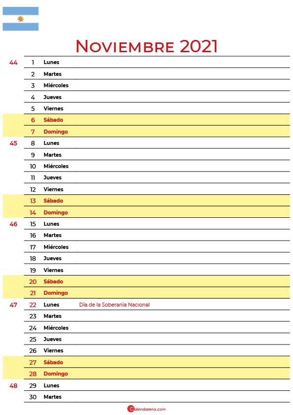 calendario 2021 noviembre argentina