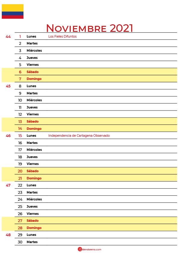 calendario 2021 noviembre colombia