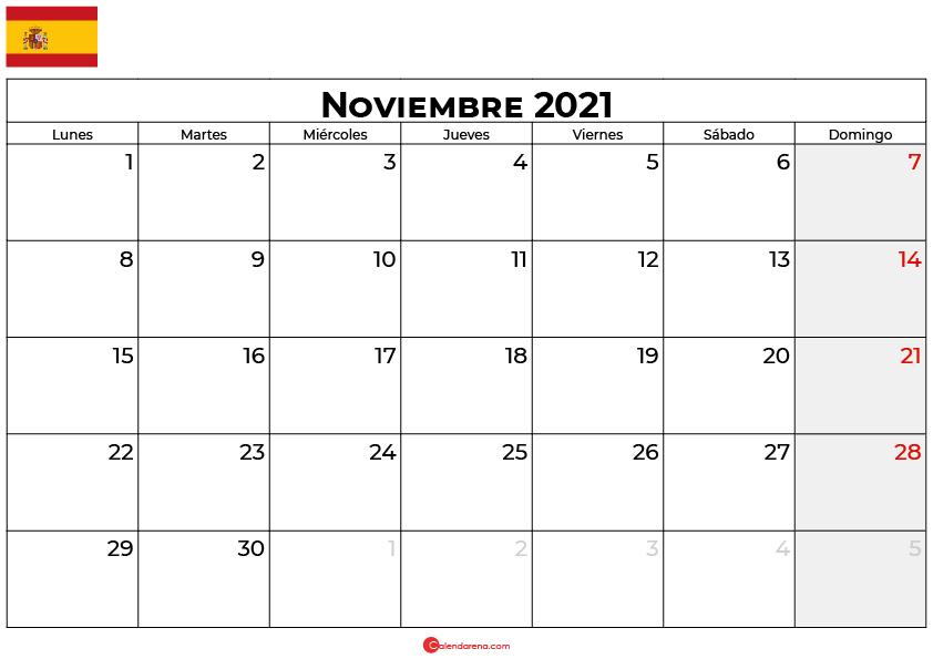 calendario 2021 noviembre espana
