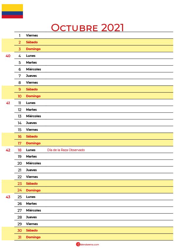 calendario 2021 octubre colombia