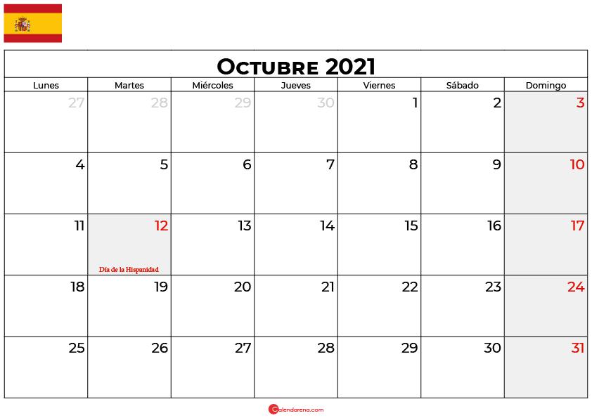 calendario 2021 octubre espana