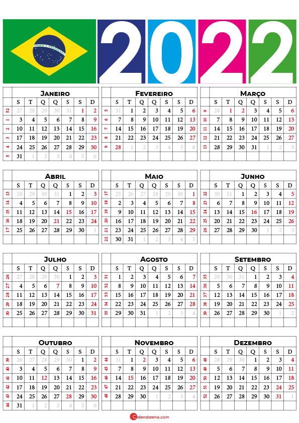 calendário 2022 com feriados