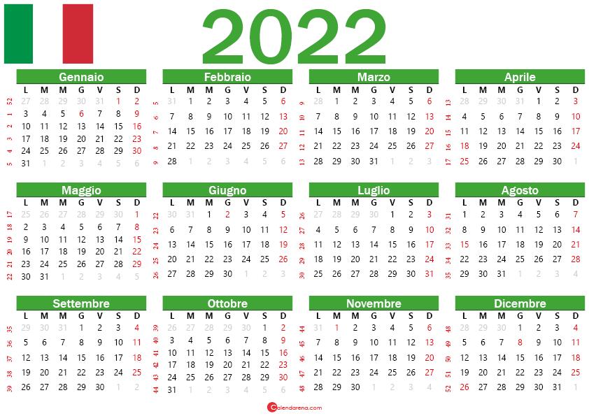 calendario 2022 con festività italia
