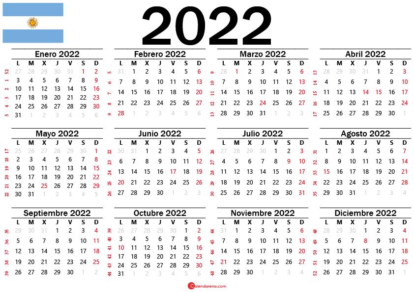 calendario 2022 con festivos argentina