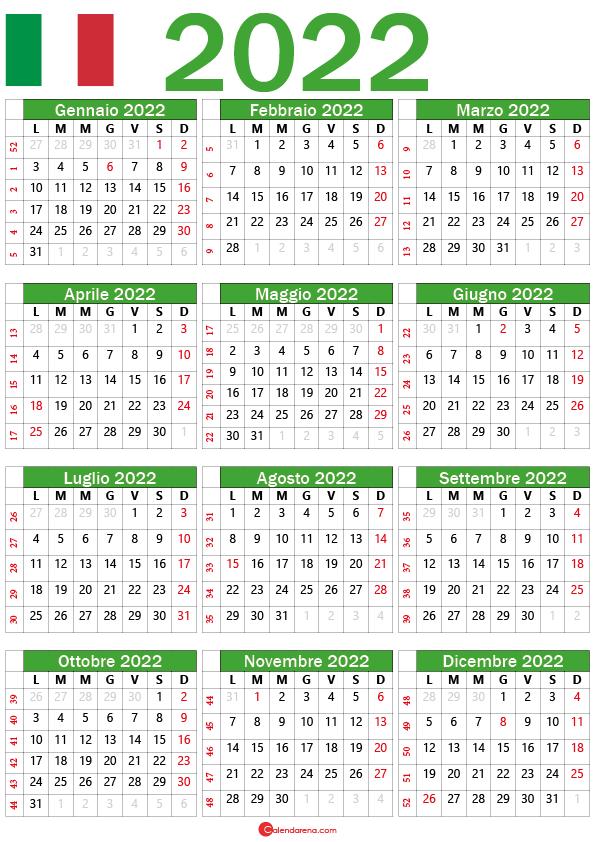calendario 2022 con settimane italiane