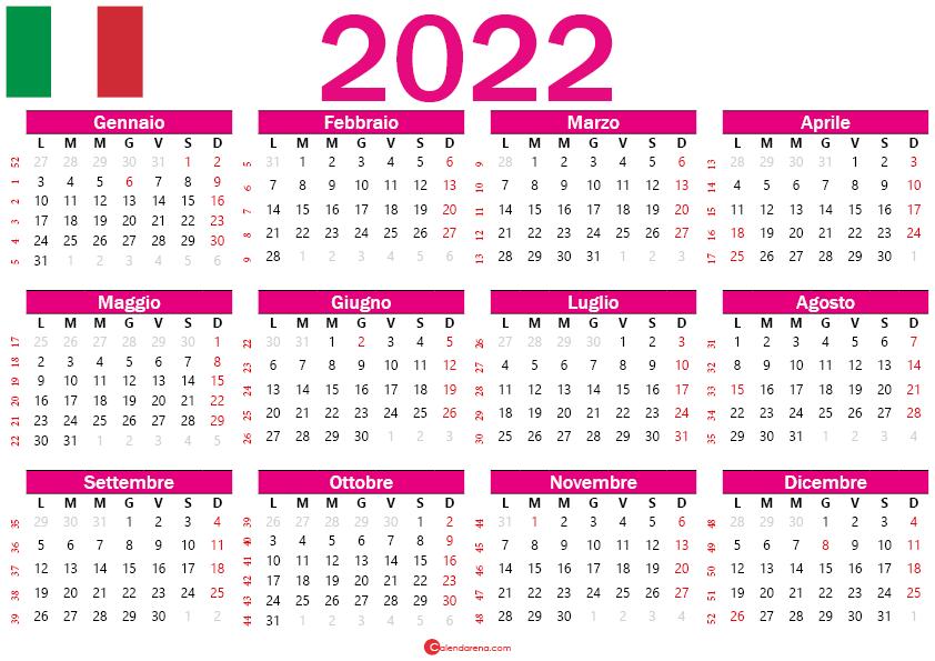 calendario 2022 italia