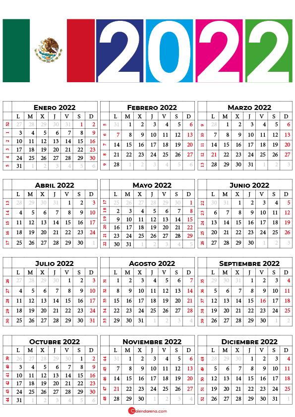 calendario 2022 mexico con festivos pdf