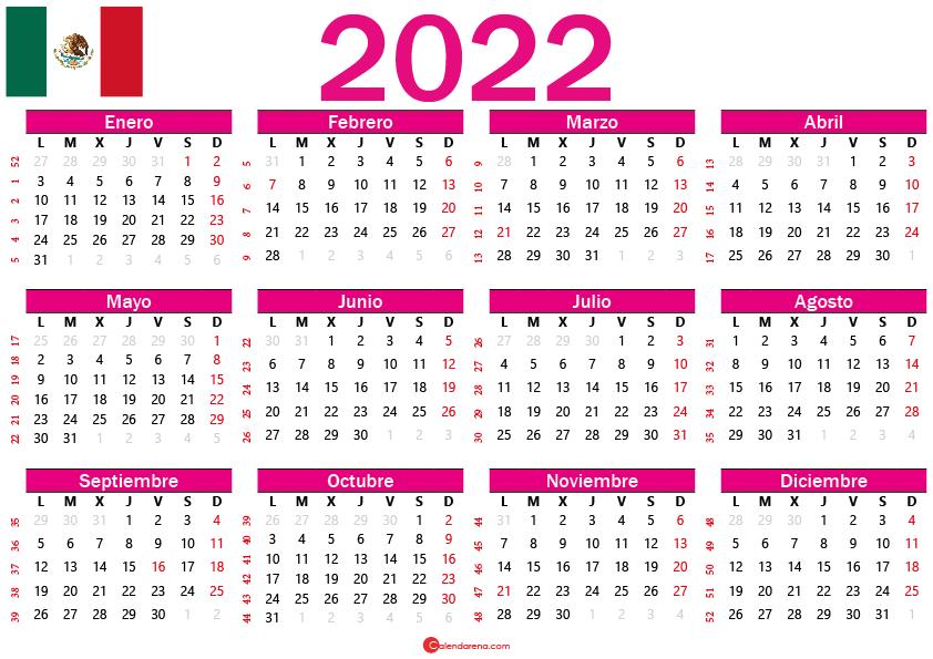 calendario 2022 mexico