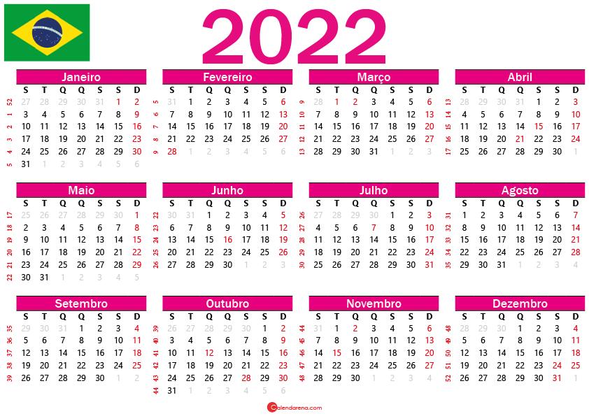 calendário 2022 para imprimir