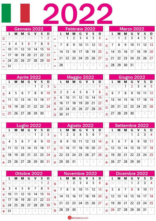 calendario 2022 pdf italia