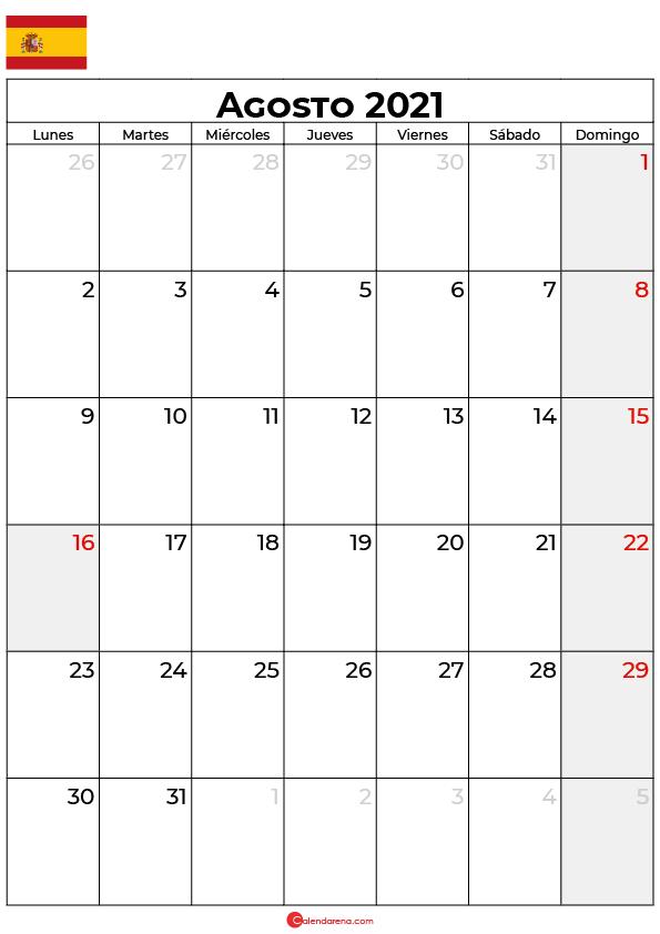 calendario Agosto 2021 espana