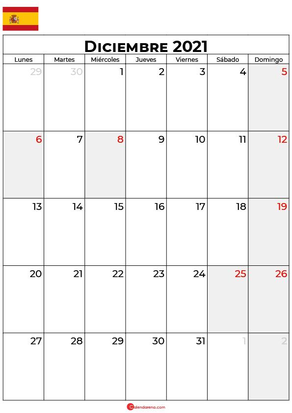 calendario Diciembre 2021 espana