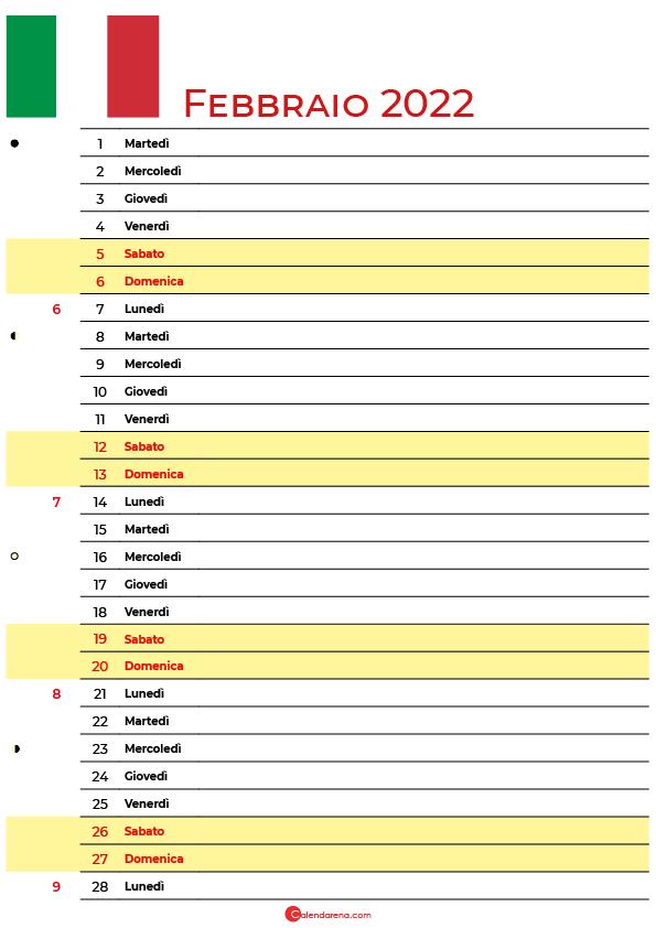 calendario Febbraio 2022 da stampare