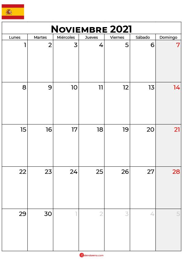 calendario Noviembre 2021 espana