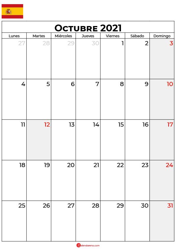 calendario Octubre 2021 espana