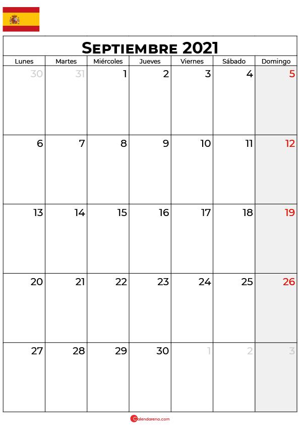 calendario Septiembre 2021 espana