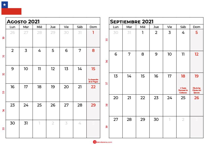 calendario agost y septiembre 2021 chilie