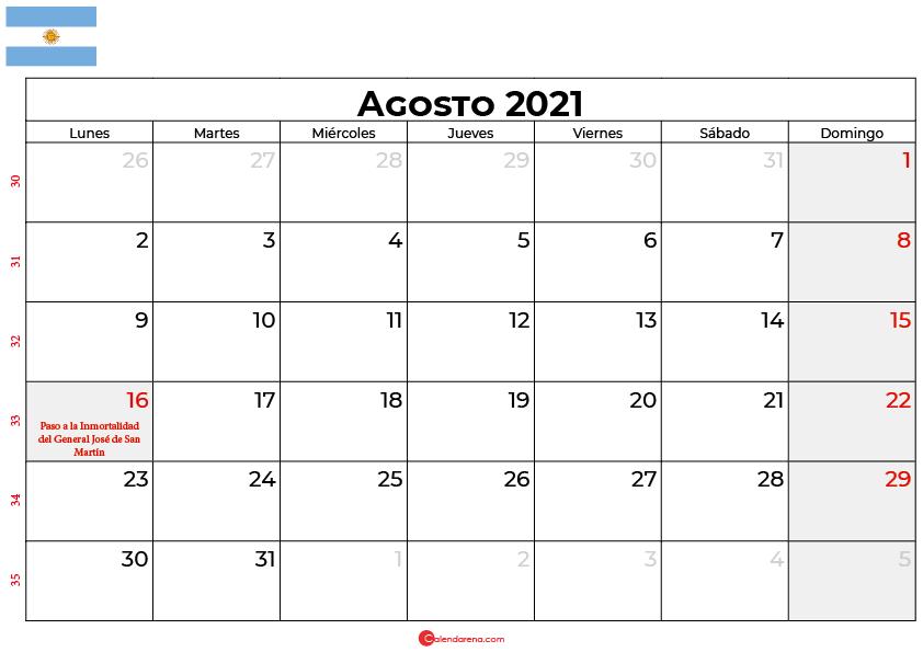 calendario agosto 2021 argentina
