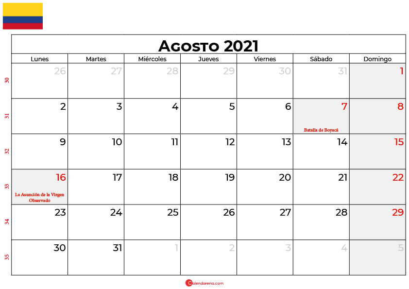 calendario agosto 2021 colombia