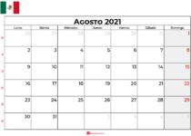 calendario agosto 2021 mexico