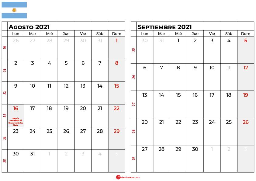 calendario agosto septiembre 2021 argentina