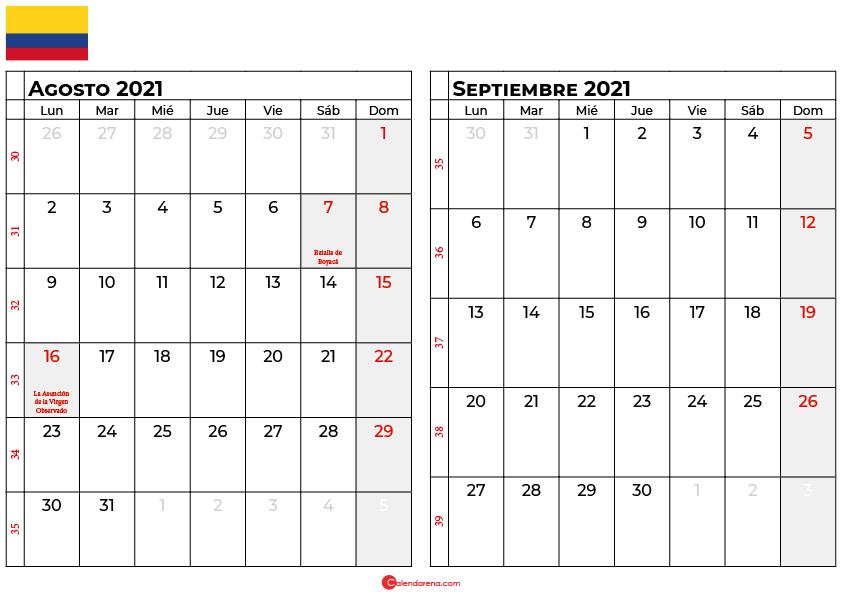 calendario agosto septiembre 2021 colombia