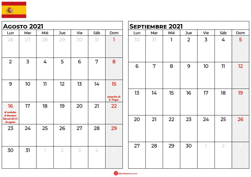 calendario agosto septiembre 2021 espana
